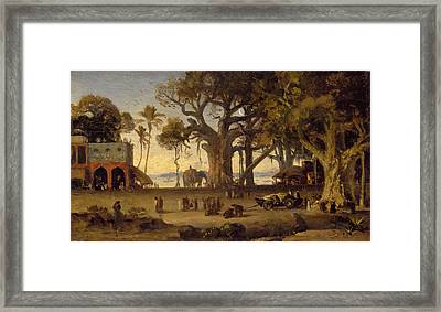 Moonlit Scene Of Indian Figures And Elephants Among Banyan Trees Framed Print by Johann Zoffany