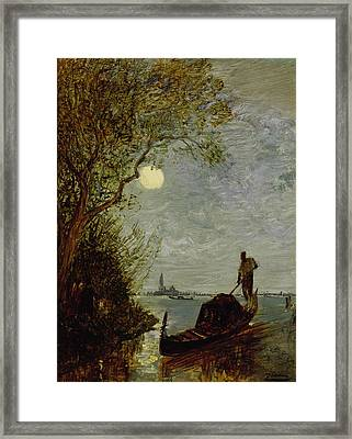 Moonlit Scene With Gondola Framed Print