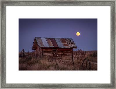 Moonlit Shed Framed Print