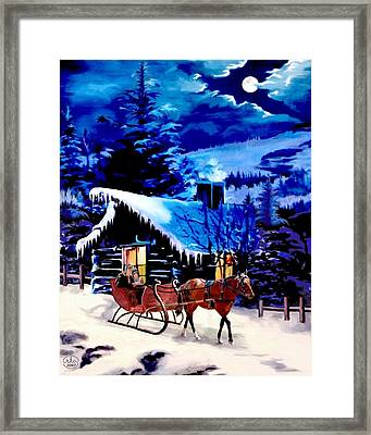 Moonlit Sleigh Ride Framed Print by Ron Chambers