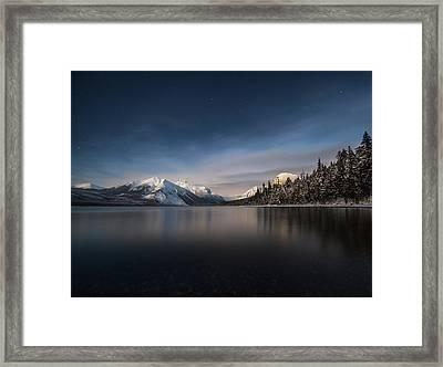 Moonlit Snowshoe // Lake Mcdonald, Glacier National Park Framed Print by Nicholas Parker
