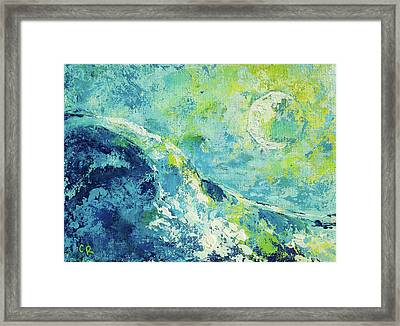 Framed Print featuring the painting Moonlit Surf by Chris Rice