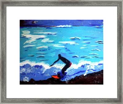 Moonlit Surf Framed Print