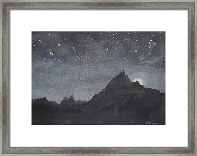 Moonlit Tor Framed Print by Leslie M Browning