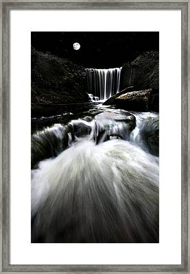 Moonlit Waterfall Framed Print by Meirion Matthias