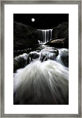 Moonlit Waterfall Framed Print by Meirion Matthias