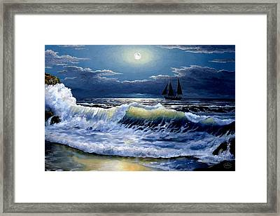 Moonlit Wave Framed Print by Ron Chambers
