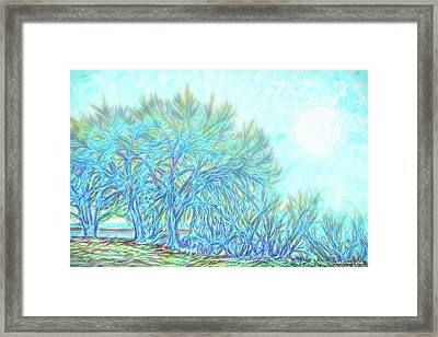 Framed Print featuring the digital art Moonlit Winter Trees In Blue - Boulder County Colorado by Joel Bruce Wallach