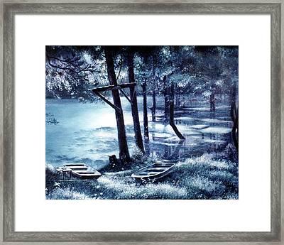 Moonlite On Village Creek Framed Print