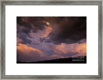 Moonrise And Sunset Framed Print by Sandra Bronstein