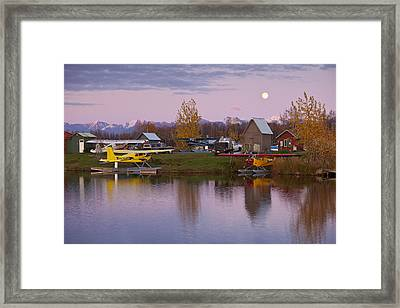 Moonrise At Lake Hood Framed Print