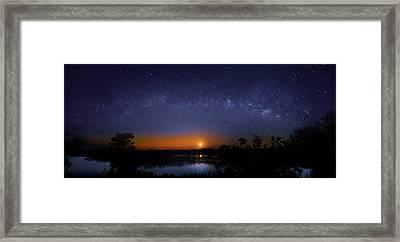 Moonrise At Milky Way Creek Framed Print