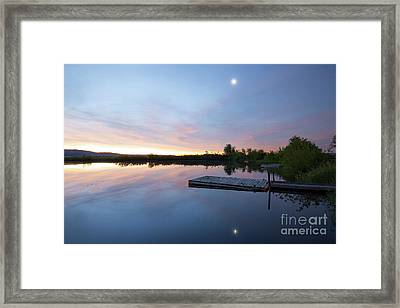 Moonrise At The Fishing Pond Framed Print