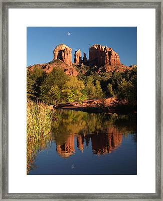 Framed Print featuring the photograph Moonrise Cathedral Rocks by Harold Rau
