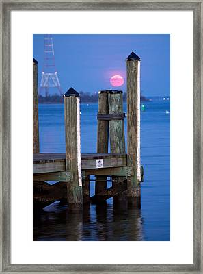 Framed Print featuring the photograph Moonrise Dock by Jennifer Casey