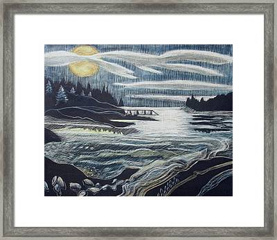 Moonrise, Duck Harbor Framed Print by Grace Keown