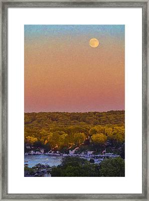 Moonrise Fontana - Lake Geneva Wisconsin Framed Print