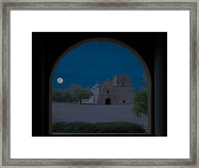 Moonrise On Tumacacori Mission Framed Print by Sandra Bronstein