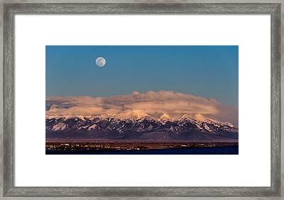 Moonrise Over Mount Blanca Winter San Luis Valley Colorado Framed Print