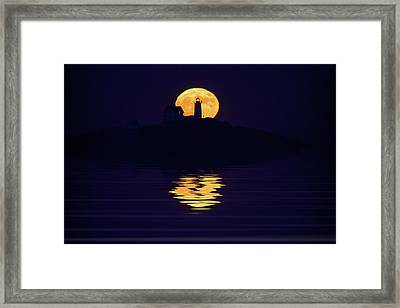 Moonrise Over Cape Neddick Framed Print by Rick Berk