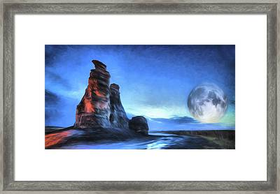 Moonrise Over Castle Rock Framed Print