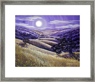 Moonrise Over Monte Bello Framed Print by Laura Iverson