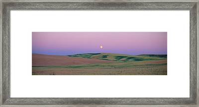 Moonrise Over Pea Fields, The Palouse Framed Print by Panoramic Images