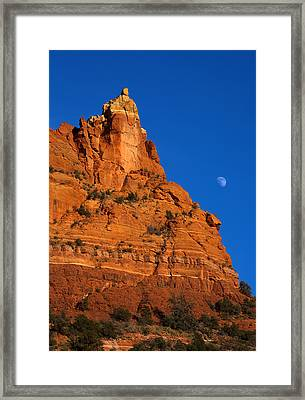 Moonrise Over Red Rock Framed Print by Mike  Dawson