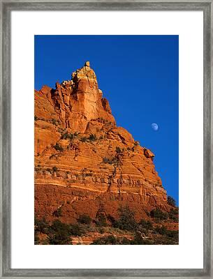 Moonrise Over Red Rock Framed Print