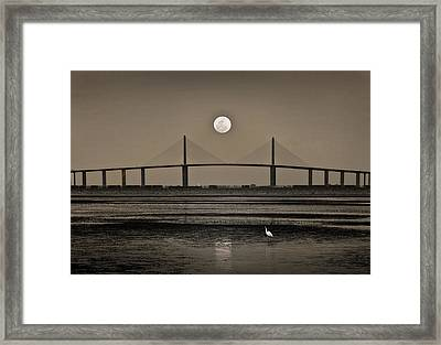 Moonrise Over Skyway Bridge Framed Print