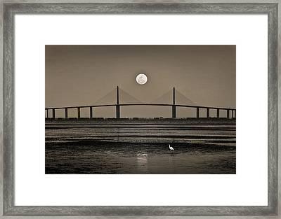 Moonrise Over Skyway Bridge Framed Print by Steven Sparks