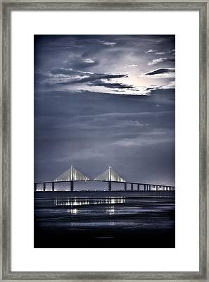 Moonrise Over Sunshine Skyway Bridge Framed Print by Steven Sparks