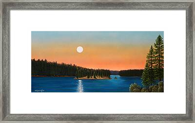 Moonrise Over The Lake Framed Print