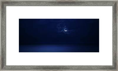 Moonrise Over The Sea Framed Print by Mark Andrew Thomas