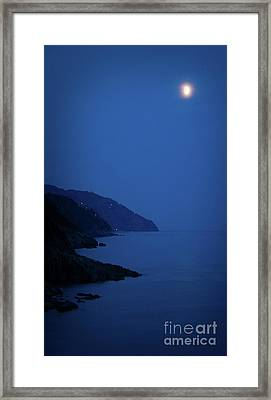 Moonrise Over Vernazza Framed Print by Doug Sturgess