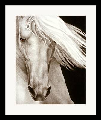 White Horses Paintings Framed Prints
