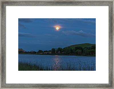 Moonrise Reflection Horizontal Framed Print by Marc Crumpler