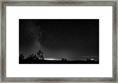 Moonset And The Milky Way Bw Framed Print