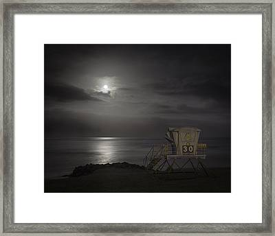 Moonset At Carlsbad Framed Print