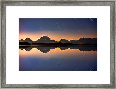 Moonset At Moran Framed Print