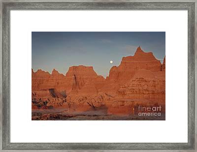 Moonset Badlands National Park Framed Print by Joan McCool