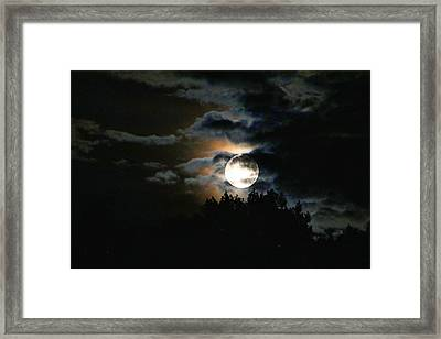 Moonset In The Clouds 2 Framed Print