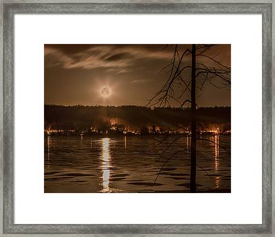 Moonset On Conesus Framed Print by Richard Engelbrecht