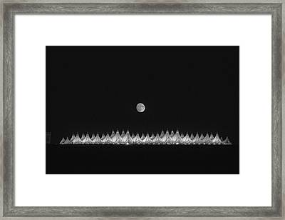 Moonset Over Dia Framed Print