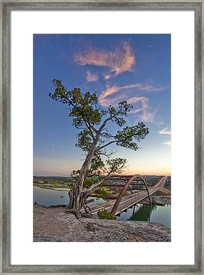 Moonset Over The 360 Bridge Austin Texas 1 Framed Print by Rob Greebon