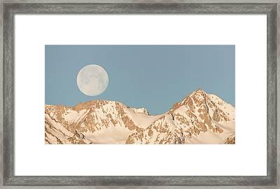 Moonset Over The Eastern Sierra Framed Print