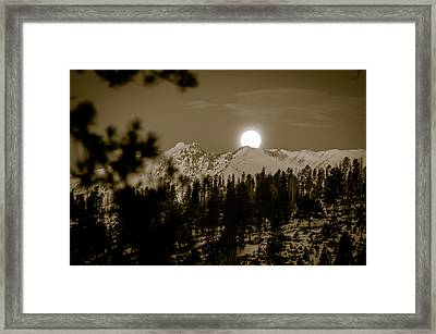 moonset over the Rockies Framed Print