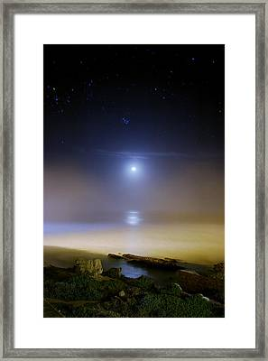 Moonset Over The Sea With Pleiades M45 Framed Print