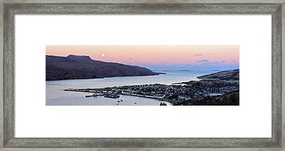 Framed Print featuring the photograph Moonset Sunrise Over Ullapool by Grant Glendinning