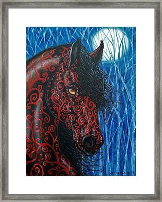 Moonsfyre Stallion Of Nyteworld Framed Print by Beth Clark-McDonal